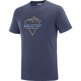 Salomon Blend Logo T-shirt Heren, night sky/arrowwood/dark denim